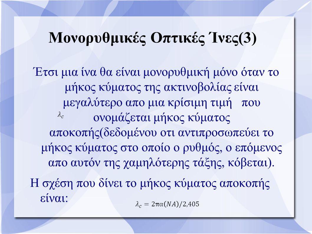 Μονορυθμικές Οπτικές Ίνες(3) Έτσι μια ίνα θα είναι μονορυθμική μόνο όταν το μήκος κύματος της ακτινοβολίας είναι μεγαλύτερο απο μια κρίσιμη τιμή που ο
