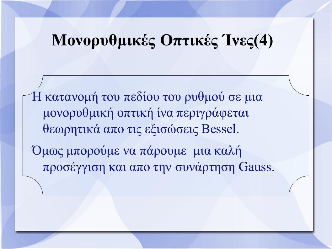 Μονορυθμικές Οπτικές Ίνες(4) Η κατανομή του πεδίου του ρυθμού σε μια μονορυθμική οπτική ίνα περιγράφεται θεωρητικά απο τις εξισώσεις Bessel. Όμως μπορ