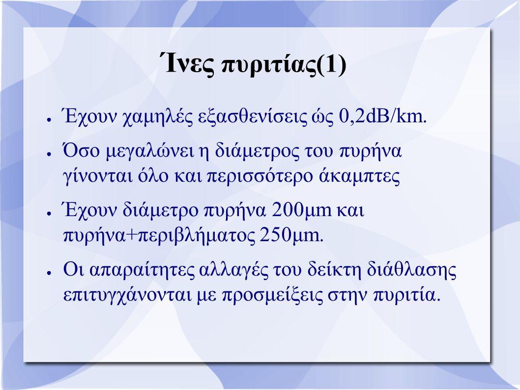 Ίνες πυριτίας(1) ● Έχουν χαμηλές εξασθενίσεις ώς 0,2dB/km. ● Όσο μεγαλώνει η διάμετρος του πυρήνα γίνονται όλο και περισσότερο άκαμπτες ● Έχουν διάμετ
