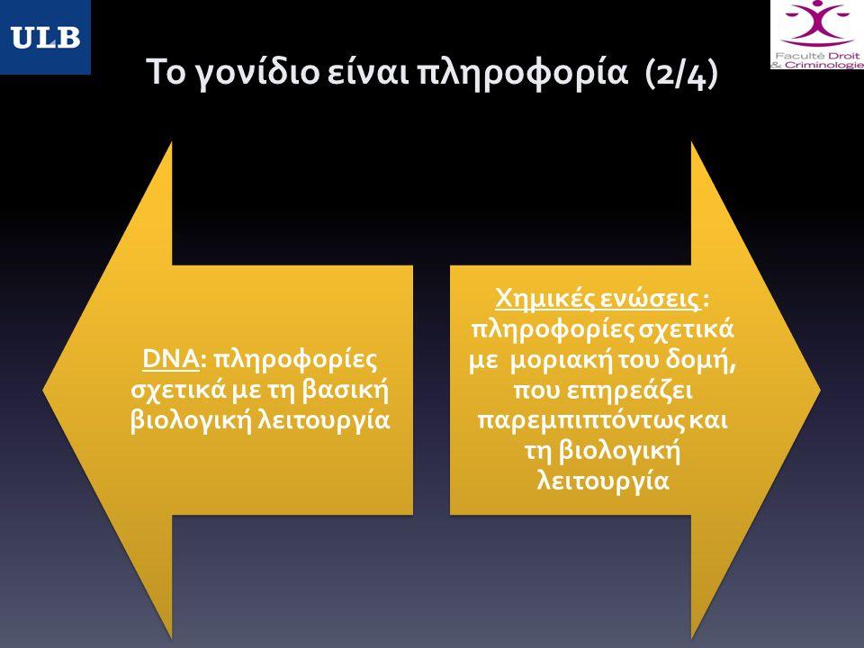 Το γονίδιο είναι πληροφορία (2/4) DNA: πληροφορίες σχετικά με τη βασική βιολογική λειτουργία Χημικές ενώσεις : πληροφορίες σχετικά με μοριακή του δομή, που επηρεάζει παρεμπιπτόντως και τη βιολογική λειτουργία