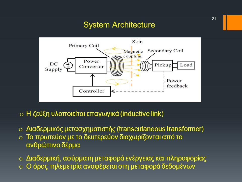 21 o Η ζεύξη υλoποιείται επαγωγικά (inductive link) o Διαδερμικός μετασχηματιστής (transcutaneous transformer) o To πρωτεύον με το δευτερεύον διαχωρίζονται από το ανθρώπινο δέρμα o Διαδερμική, ασύρματη μεταφορά ενέργειας και πληροφορίας o Ο όρος τηλεμετρία αναφέρεται στη μεταφορά δεδομένων System Architecture