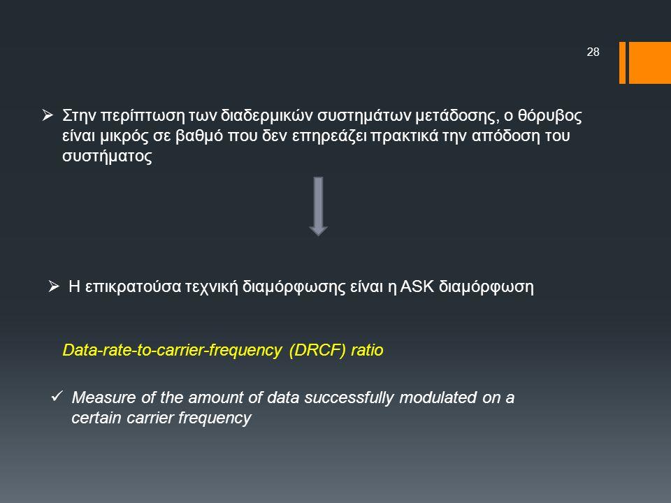 28  Στην περίπτωση των διαδερμικών συστημάτων μετάδοσης, ο θόρυβος είναι μικρός σε βαθμό που δεν επηρεάζει πρακτικά την απόδοση του συστήματος  Η επικρατούσα τεχνική διαμόρφωσης είναι η ASK διαμόρφωση Data-rate-to-carrier-frequency (DRCF) ratio Measure of the amount of data successfully modulated on a certain carrier frequency