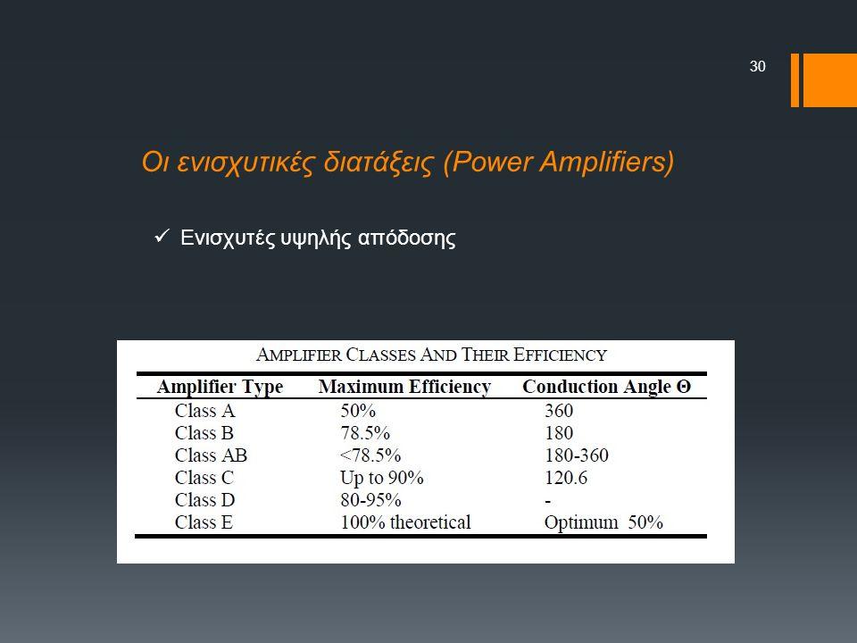 30 Οι ενισχυτικές διατάξεις (Power Amplifiers) Ενισχυτές υψηλής απόδοσης