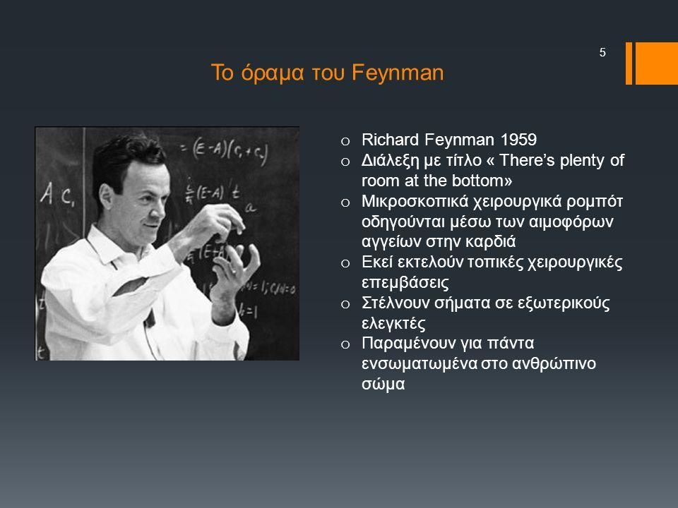 5 o Richard Feynman 1959 o Διάλεξη με τίτλο « There's plenty of room at the bottom» o Μικροσκοπικά χειρουργικά ρομπότ οδηγούνται μέσω των αιμοφόρων αγγείων στην καρδιά o Εκεί εκτελούν τοπικές χειρουργικές επεμβάσεις o Στέλνουν σήματα σε εξωτερικούς ελεγκτές o Παραμένουν για πάντα ενσωματωμένα στο ανθρώπινο σώμα Το όραμα του Feynman