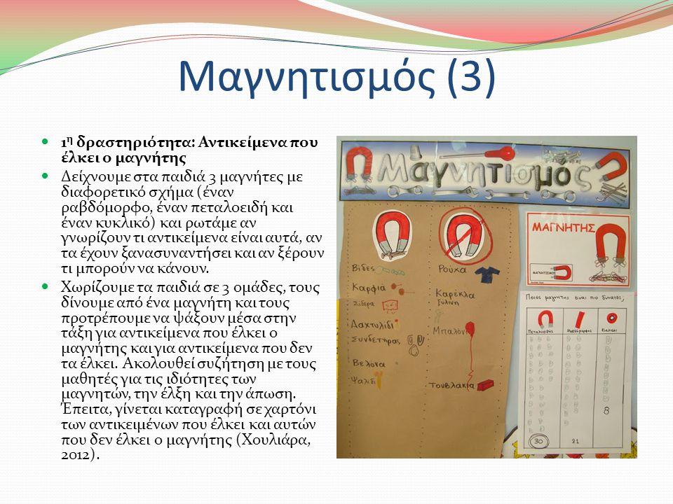 Μαγνητισμός (2) Η διδασκαλία του μαγνητισμού μπορεί να γίνει και με την αντίστροφη διαδικασία, δηλαδή πρώτα τα παιδιά να διδαχθούν κάποια πράγματα για τους μαγνήτες και μετά να κατασκευάσουν μόνα τους μια ιστορία που να δείχνει πώς συμπεριφέρεται ένας μαγνήτης.