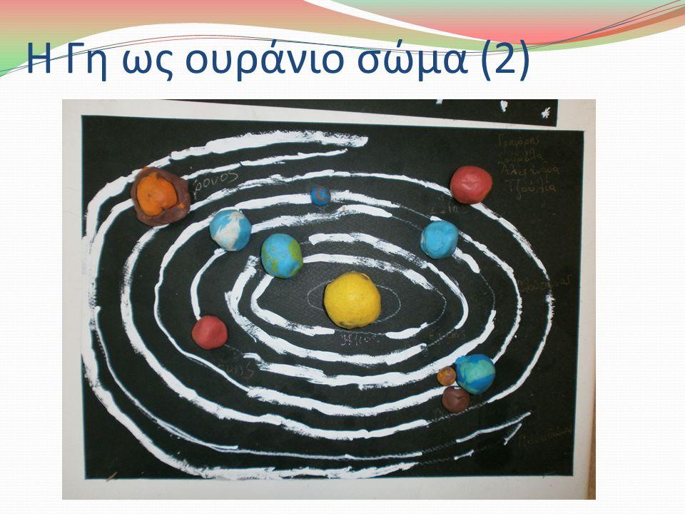 Η Γη ως ουράνιο σώμα (2) Μπορούμε, επίσης, να κατασκευάσουμε και ένα μοντέλο του ηλιακού συστήματος μέσα στην τάξη με τα παιδιά για να καταλάβουν καλύτερα τη θέση των πλανητών και του Ήλιου.