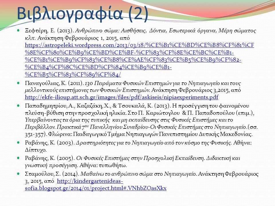 Βιβλιογραφία (1) Αντωνίου, Ν., Δημητριάδης, Π., Καμπούρης, Κ., Παπαμιχάλης, Κ., & Παπατσίμπα, Λ.