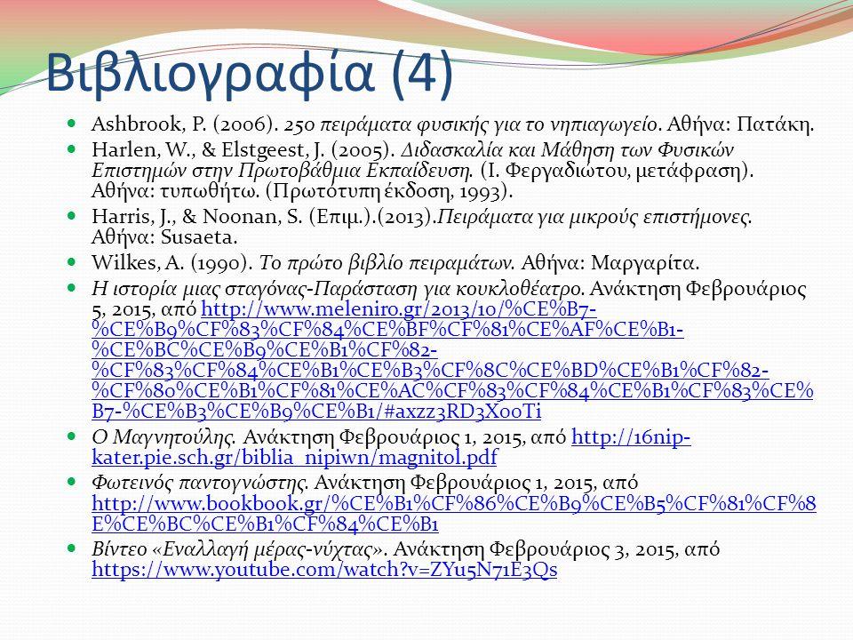 Βιβλιογραφία (3) Στρατή, Χ. (2012). Δεξιότητες Επιστημονικής Μεθόδου-Ταξινόμηση.