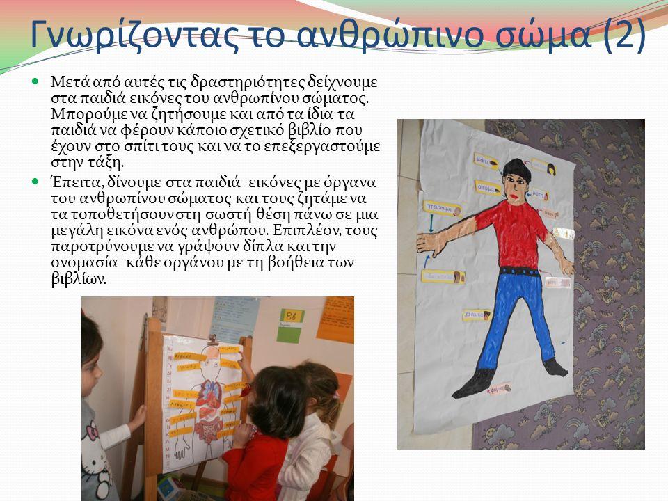Γνωρίζοντας το ανθρώπινο σώμα (1) Στο τρίτο στάδιο ρωτάμε τα παιδιά να μας πουν τι κάνουμε με τα μάτια, τα αυτιά, τη μύτη, το στόμα και τα χέρια.