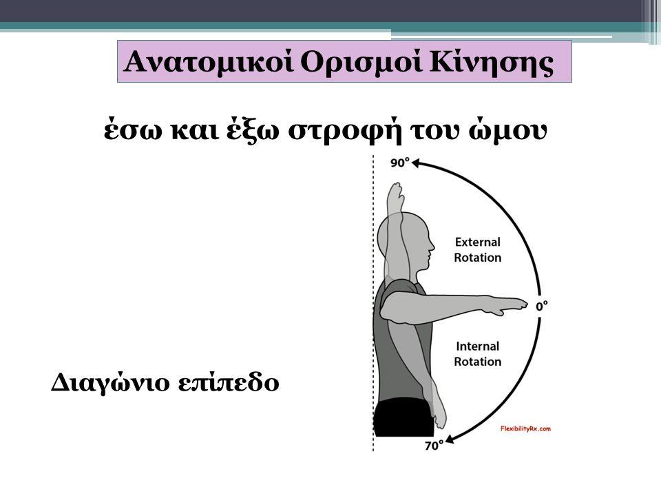 Ανατομικοί Ορισμοί Κίνησης έσω και έξω στροφή του ώμου Διαγώνιο επίπεδο