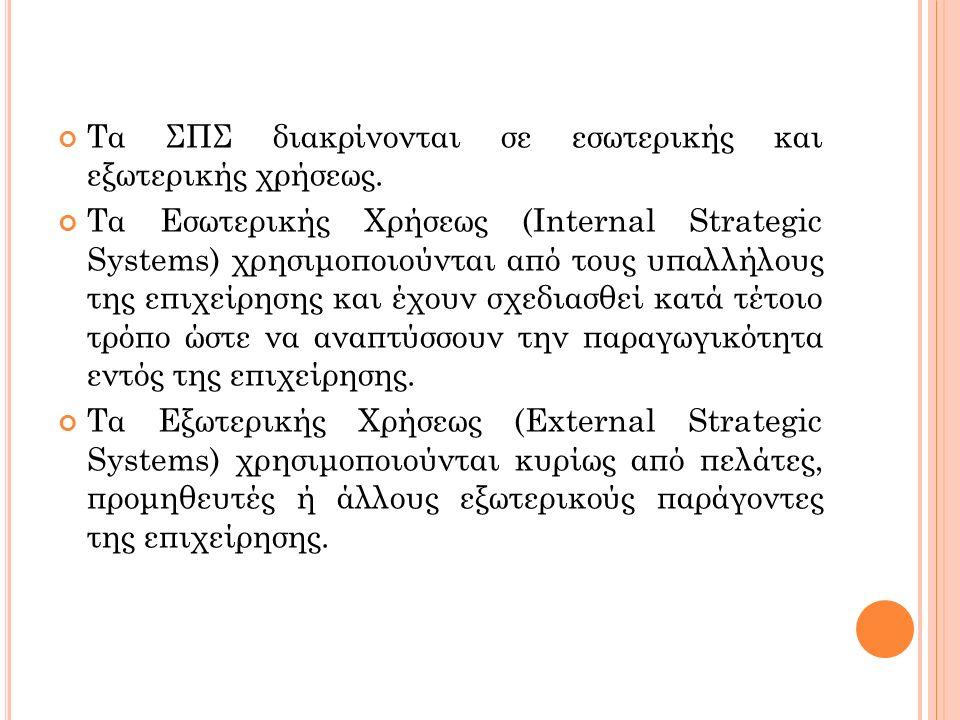 Τα ΣΠΣ διακρίνονται σε εσωτερικής και εξωτερικής χρήσεως. Τα Εσωτερικής Χρήσεως (Internal Strategic Systems) χρησιμοποιούνται από τους υπαλλήλους της