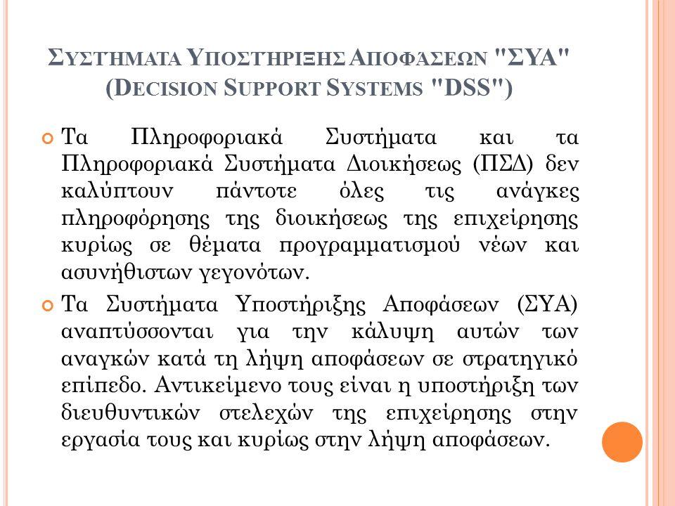 Σ ΥΣΤΉΜΑΤΑ Υ ΠΟΣΤΉΡΙΞΗΣ Α ΠΟΦΆΣΕΩΝ ΣΥΑ (D ECISION S UPPORT S YSTEMS DSS ) Τα Πληροφοριακά Συστήματα και τα Πληροφοριακά Συστήματα Διοικήσεως (ΠΣΔ) δεν καλύπτουν πάντοτε όλες τις ανάγκες πληροφόρησης της διοικήσεως της επιχείρησης κυρίως σε θέματα προγραμματισμού νέων και ασυνήθιστων γεγονότων.