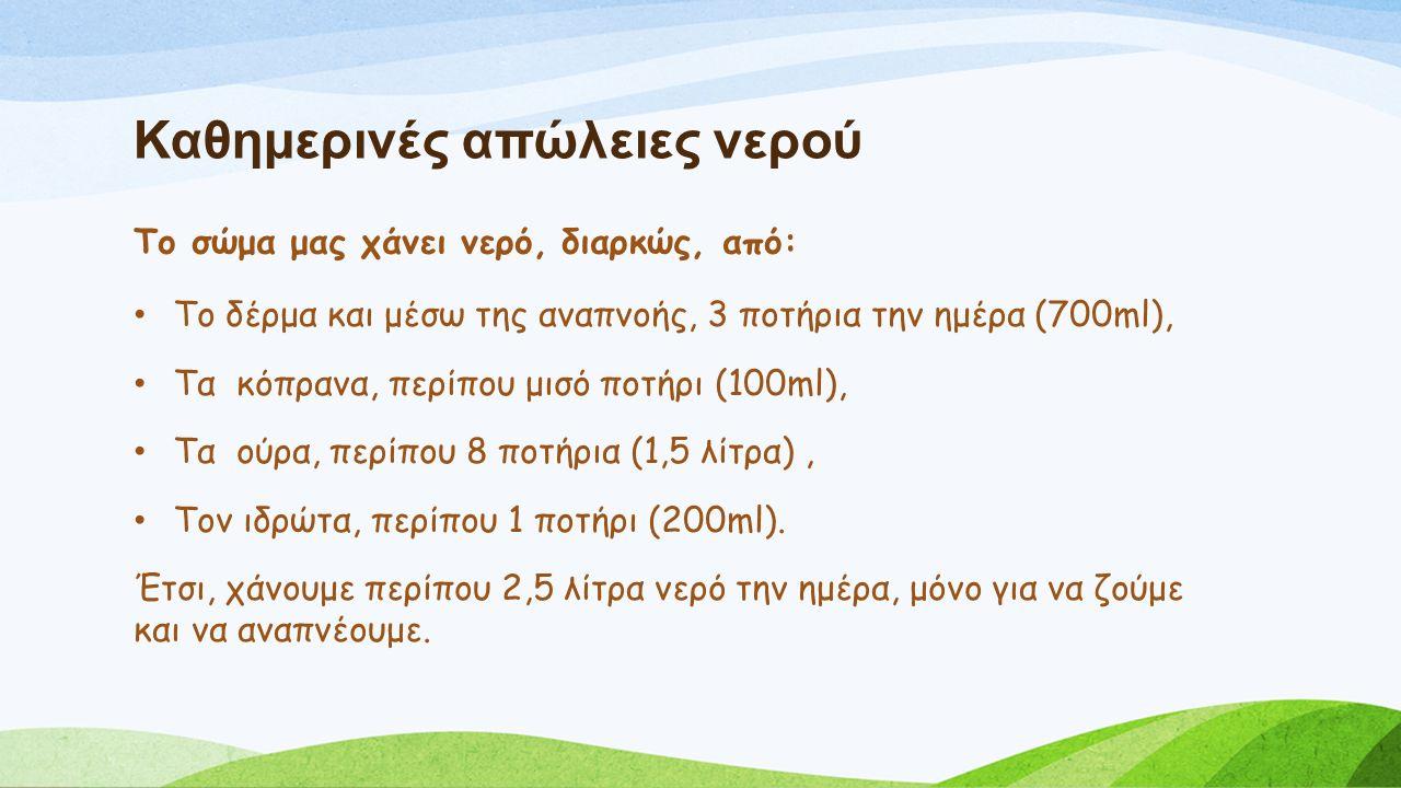 Καθημερινές απώλειες νερού Το δέρμα και μέσω της αναπνοής, 3 ποτήρια την ημέρα (700ml), Τα κόπρανα, περίπου μισό ποτήρι (100ml), Τα ούρα, περίπου 8 ποτήρια (1,5 λίτρα), Τον ιδρώτα, περίπου 1 ποτήρι (200ml).