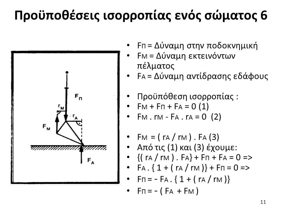 Προϋποθέσεις ισορροπίας ενός σώματος 6 F Π = Δύναμη στην ποδοκνημική F Μ = Δύναμη εκτεινόντων πέλματος F Α = Δύναμη αντίδρασης εδάφους Προϋπόθεση ισορροπίας : F Μ + F Π + F Α = 0 (1) F Μ.