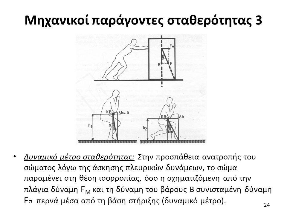 Μηχανικοί παράγοντες σταθερότητας 3 Δυναμικό μέτρο σταθερότητας: Στην προσπάθεια ανατροπής του σώματος λόγω της άσκησης πλευρικών δυνάμεων, το σώμα παραμένει στη θέση ισορροπίας, όσο η σχηματιζόμενη από την πλάγια δύναμη F M και τη δύναμη του βάρους Β συνισταμένη δύναμη F σ περνά μέσα από τη βάση στήριξης (δυναμικό μέτρο).