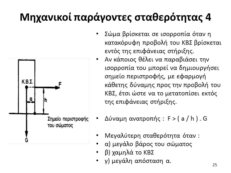 Μηχανικοί παράγοντες σταθερότητας 4 Σώμα βρίσκεται σε ισορροπία όταν η κατακόρυφη προβολή του ΚΒΣ βρίσκεται εντός της επιφάνειας στήριξης.