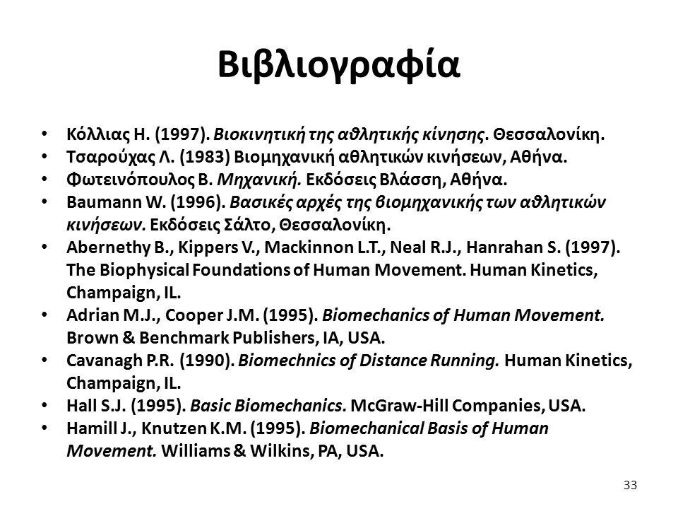 Βιβλιογραφία Κόλλιας Η. (1997). Βιοκινητική της αθλητικής κίνησης. Θεσσαλονίκη. Τσαρούχας Λ. (1983) Βιομηχανική αθλητικών κινήσεων, Αθήνα. Φωτεινόπουλ