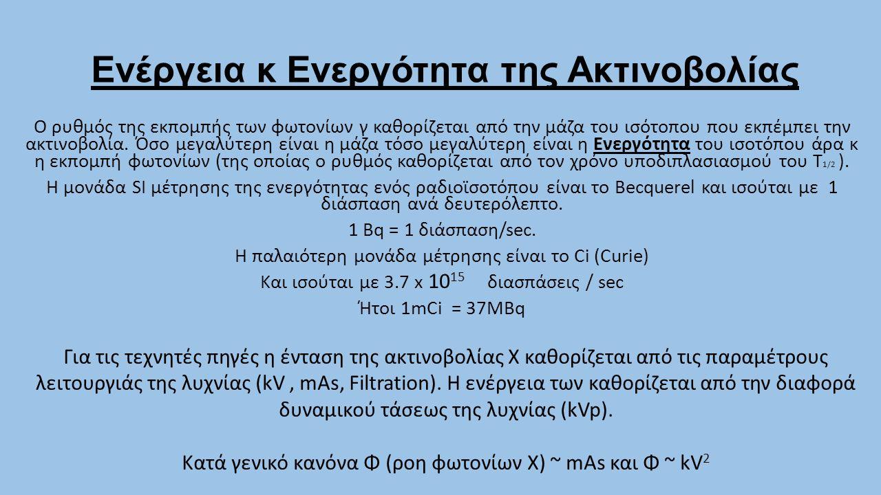 Ενέργεια κ Ενεργότητα της Ακτινοβολίας Ο ρυθμός της εκπομπής των φωτονίων γ καθορίζεται από την μάζα του ισότοπου που εκπέμπει την ακτινοβολία. Όσο με