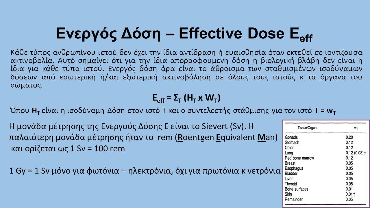 Ενεργός Δόση – Effective Dose E eff 9 Κάθε τύπος ανθρωπίνου ιστού δεν έχει την ίδια αντίδραση ή ευαισθησία όταν εκτεθεί σε ιοντιζουσα ακτινοβολία. Αυτ
