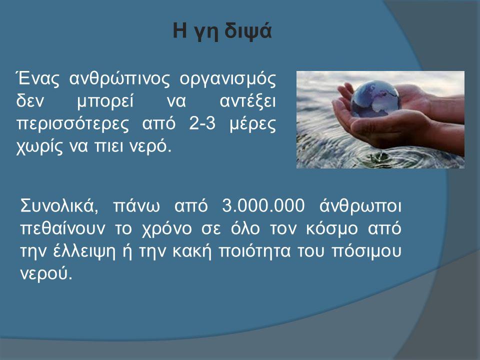 Η γη διψά Συνολικά, πάνω από 3.000.000 άνθρωποι πεθαίνουν το χρόνο σε όλο τον κόσμο από την έλλειψη ή την κακή ποιότητα του πόσιμου νερού.