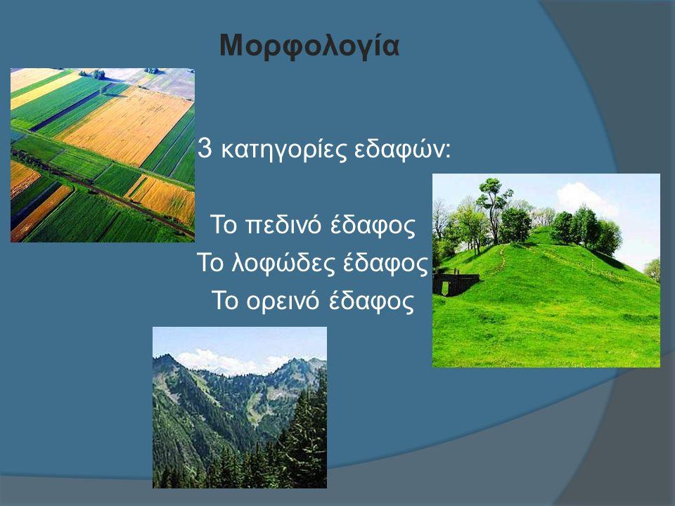 Μορφολογία 3 κατηγορίες εδαφών: Το πεδινό έδαφος Το λοφώδες έδαφος Το ορεινό έδαφος