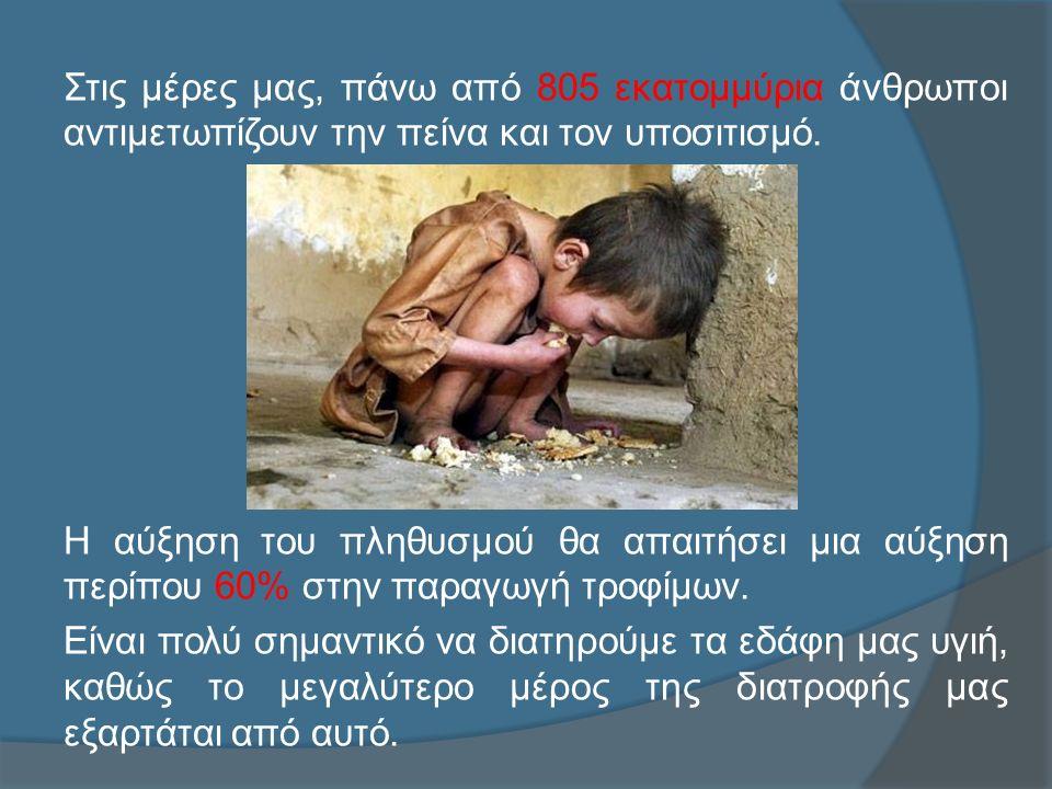 Στις μέρες μας, πάνω από 805 εκατομμύρια άνθρωποι αντιμετωπίζουν την πείνα και τον υποσιτισμό.