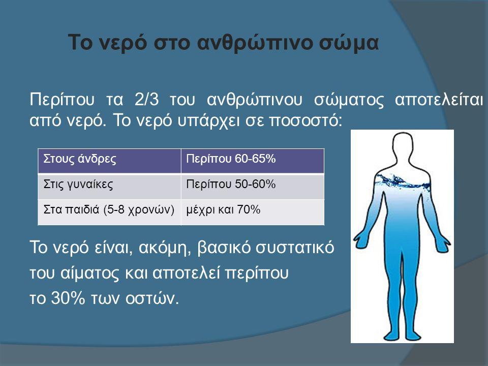 Το νερό στο ανθρώπινο σώμα Περίπου τα 2/3 του ανθρώπινου σώματος αποτελείται από νερό.