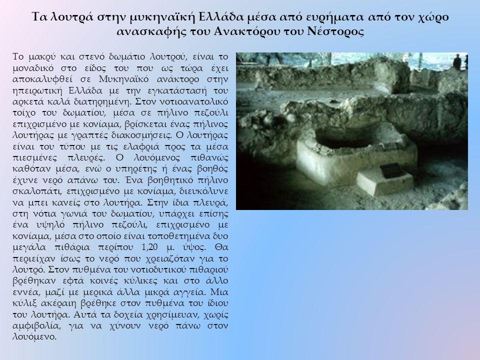 Το μακρύ και στενό δωμάτιο λουτρού, είναι το μοναδικό στο είδος του που ως τώρα έχει αποκαλυφθεί σε Μυκηναϊκό ανάκτορο στην ηπειρωτική Ελλάδα με την εγκατάστασή του αρκετά καλά διατηρημένη.