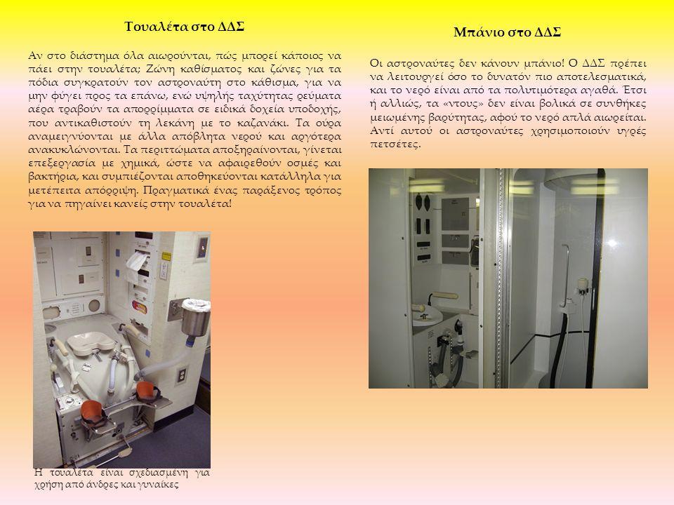 Μπάνιο στο ΔΔΣ Οι αστροναύτες δεν κάνουν μπάνιο! Ο ΔΔΣ πρέπει να λειτουργεί όσο το δυνατόν πιο αποτελεσματικά, και το νερό είναι από τα πολυτιμότερα α