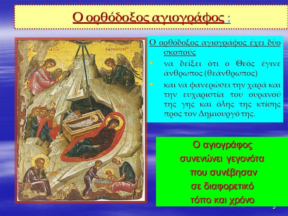 3 Ο ορθόδοξος αγιογράφος : Ο αγιογράφος συνενώνει γεγονότα που συνέβησαν που συνέβησαν σε διαφορετικό τόπο και χρόνο Ο ορθόδοξος αγιογράφος έχει δύο σκοπούς   να δείξει ότι ο Θεός έγινε άνθρωπος (θεάνθρωπος)   και να φανερώσει την χαρά και την ευχαριστία του ουρανού της γης και όλης της κτίσης προς τον Δημιουργό της.