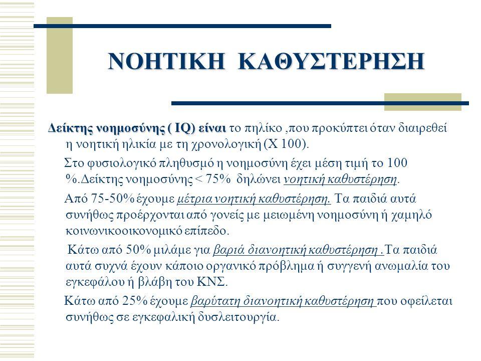ΝΟΗΤΙΚΗ ΚΑΘΥΣΤΕΡΗΣΗ Δείκτης νοημοσύνης ( IQ) είναι Δείκτης νοημοσύνης ( IQ) είναι το πηλίκο,που προκύπτει όταν διαιρεθεί η νοητική ηλικία με τη χρονολογική (X 100).