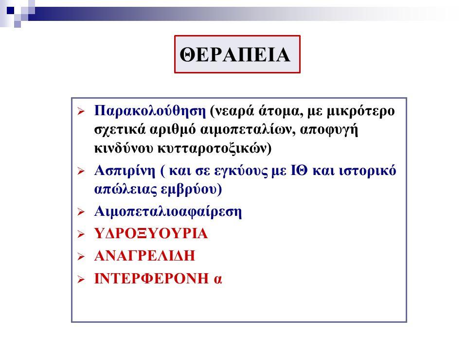 ΘΕΡΑΠΕΙΑ  Παρακολούθηση (νεαρά άτομα, με μικρότερο σχετικά αριθμό αιμοπεταλίων, αποφυγή κινδύνου κυτταροτοξικών)  Ασπιρίνη ( και σε εγκύους με ΙΘ και ιστορικό απώλειας εμβρύου)  Αιμοπεταλιοαφαίρεση  ΥΔΡΟΞΥΟΥΡΙΑ  ΑΝΑΓΡΕΛΙΔΗ  ΙΝΤΕΡΦΕΡΟΝΗ α