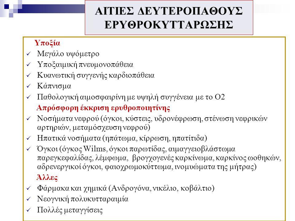 ΕΡΓΑΣΤΗΡΙΑΚΑ ΕΥΡΗΜΑΤΑ  Εικόνα μυελού: υπερκυτταρικός μυελός (3/4 περιπτώσεων), χωρίς δυσπλασία ή ίνωση.