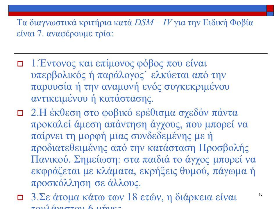 10 Tα διαγνωστικά κριτήρια κατά DSM – IV για την Ειδική Φοβία είναι 7.