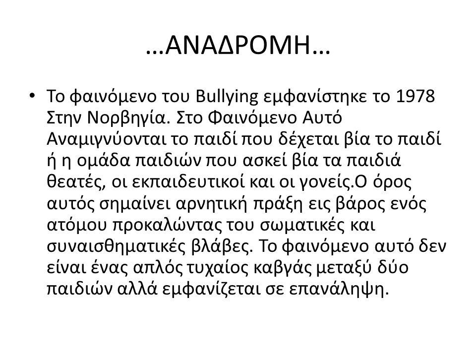 …ΑΝΑΔΡΟΜΗ… Το φαινόμενο του Bullying εμφανίστηκε το 1978 Στην Νορβηγία. Στο Φαινόμενο Αυτό Αναμιγνύονται το παιδί που δέχεται βία το παιδί ή η ομάδα π