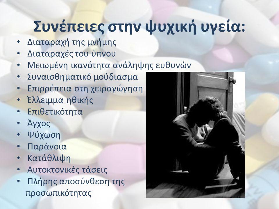 Συνέπειες στην ψυχική υγεία: Διαταραχή της μνήμης Διαταραχές του ύπνου Μειωμένη ικανότητα ανάληψης ευθυνών Συναισθηματικό μούδιασμα Επιρρέπεια στη χει
