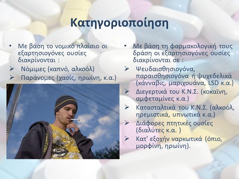 Κατηγοριοποίηση Με βάση το νομικό πλαίσιο οι εξαρτησιογόνες ουσίες διακρίνονται :  Νόμιμες (καπνό, αλκοόλ)  Παράνομες (χασίς, ηρωίνη, κ.α.) Με βάση τη φαρμακολογική τους δράση οι εξαρτησιογόνες ουσίες διακρίνονται σε :  Ψευδαισθησιογόνα, παραισθησιογόνα ή ψυχεδελικά (κάνναβις, μαριχουάνα, LSD κ.α.)  Διεγερτικά του Κ.Ν.Σ.