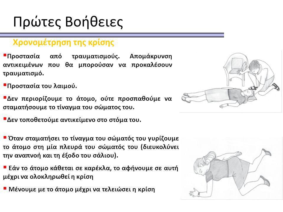 Πρώτες Βοήθειες Χρονομέτρηση της κρίσης  Προστασία από τραυματισμούς. Απομάκρυνση αντικειμένων που θα μπορούσαν να προκαλέσουν τραυματισμό.  Προστασ