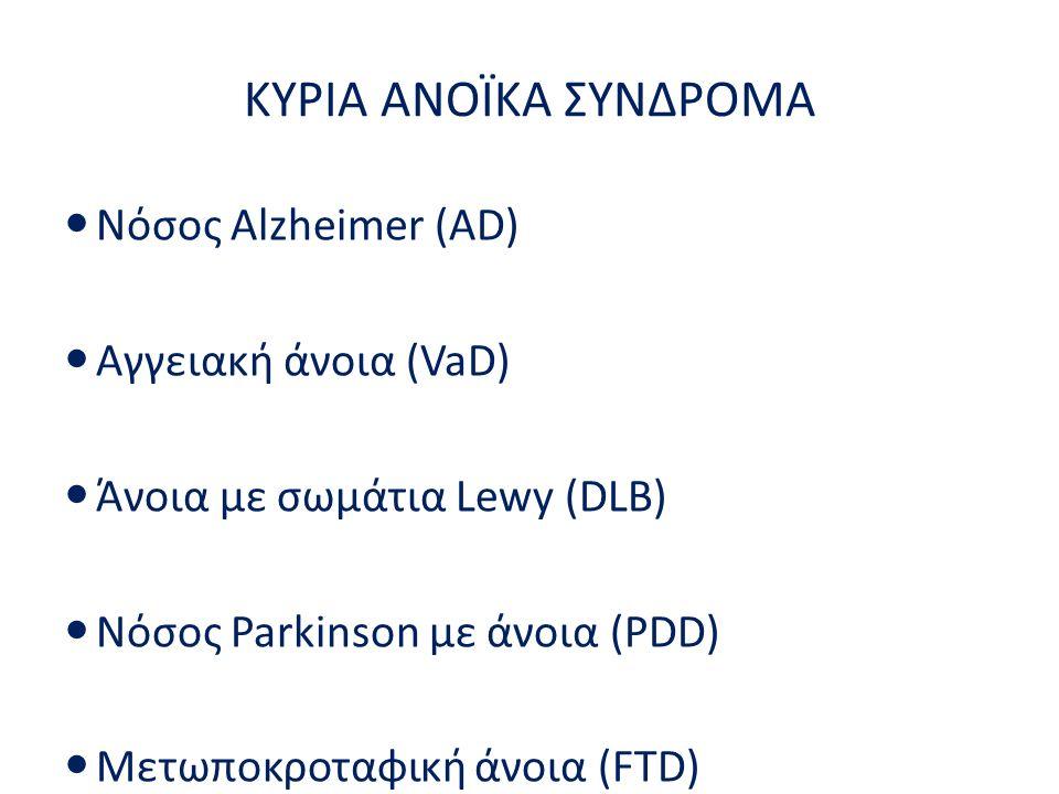 Νόσος Alzheimer (AD) Αγγειακή άνοια (VaD) Άνοια με σωμάτια Lewy (DLB) Νόσος Parkinson με άνοια (PDD) Μετωποκροταφική άνοια (FTD) Αναστρέψιμες άνοιες Κ