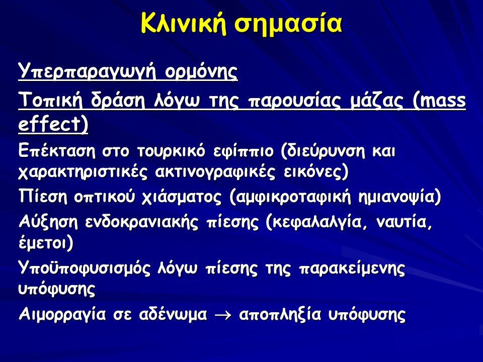 Κλινική σημασία Υπερπαραγωγή ορμόνης Τοπική δράση λόγω της παρουσίας μάζας (mass effect) Επέκταση στο τουρκικό εφίππιο (διεύρυνση και χαρακτηριστικές