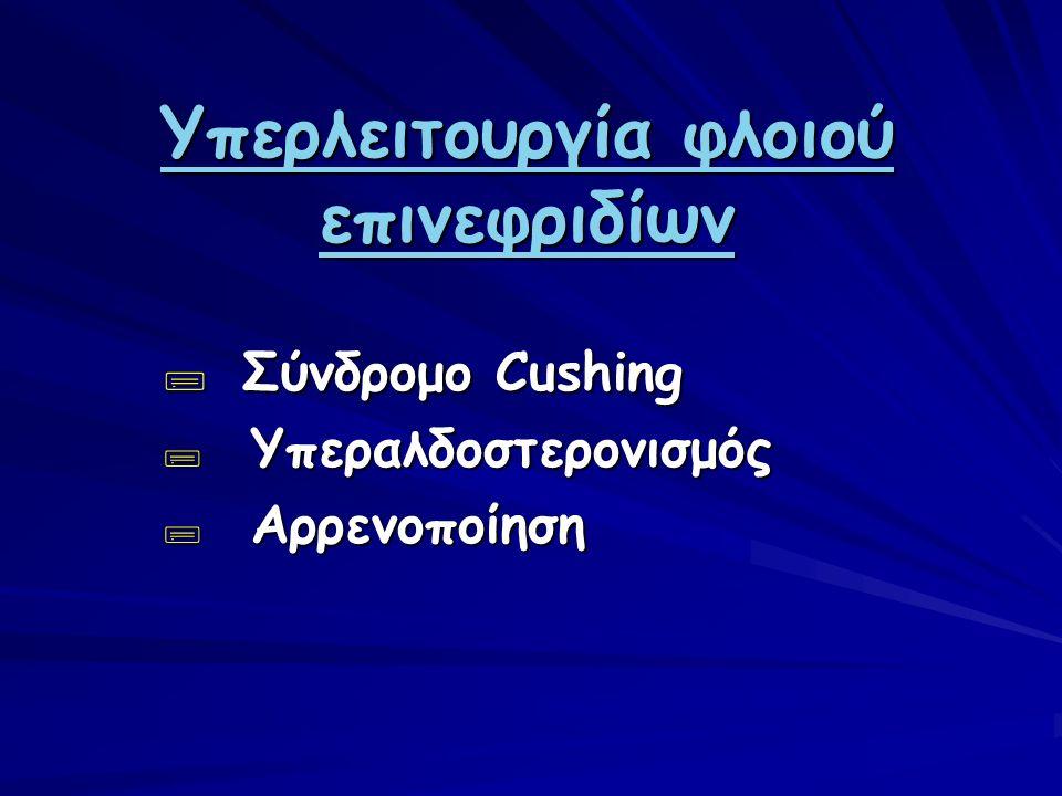 Υπερλειτουργία φλοιού επινεφριδίων  Σύνδρομο Cushing  Υπεραλδοστερονισμός  Αρρενοποίηση
