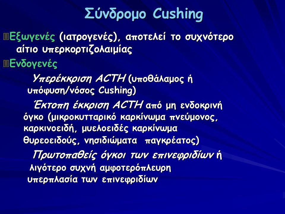 Σύνδρομο Cushing 3 Εξωγενές (ιατρογενές), αποτελεί το συχνότερο αίτιο υπερκορτιζολαιμίας 3 Ενδογενές Υπερέκκριση ACTH (υποθάλαμος ή υπόφυση/νόσος Cush