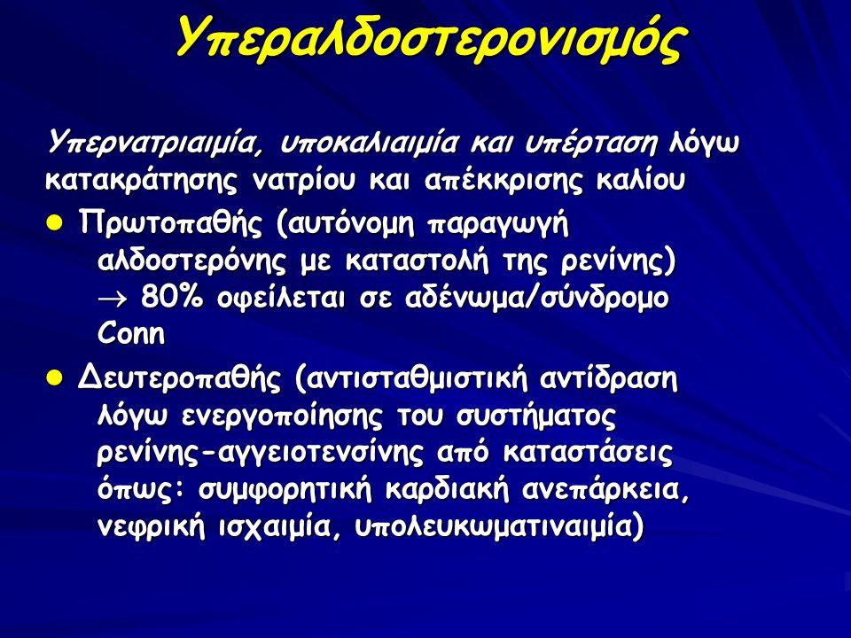 Υπεραλδοστερονισμός Υπερνατριαιμία, υποκαλιαιμία και υπέρταση λόγω κατακράτησης νατρίου και απέκκρισης καλίου Πρωτοπαθής (αυτόνομη παραγωγή αλδοστερόν