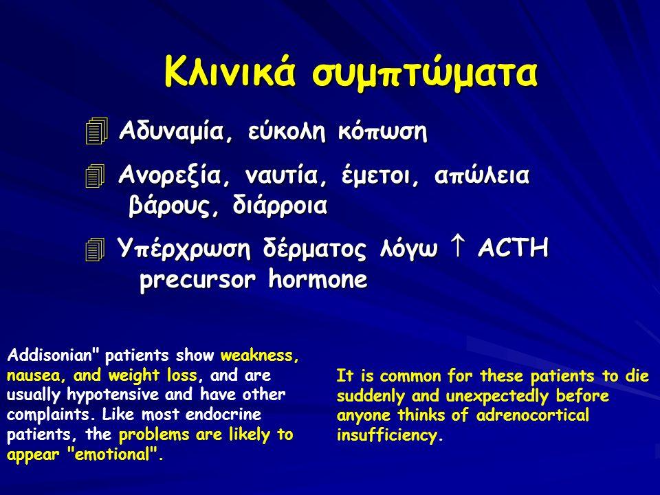 Κλινικά συμπτώματα  Αδυναμία, εύκολη κόπωση 4 Ανορεξία, ναυτία, έμετοι, απώλεια βάρους, διάρροια 4 Υπέρχρωση δέρματος λόγω  ACTH precursor hormone A