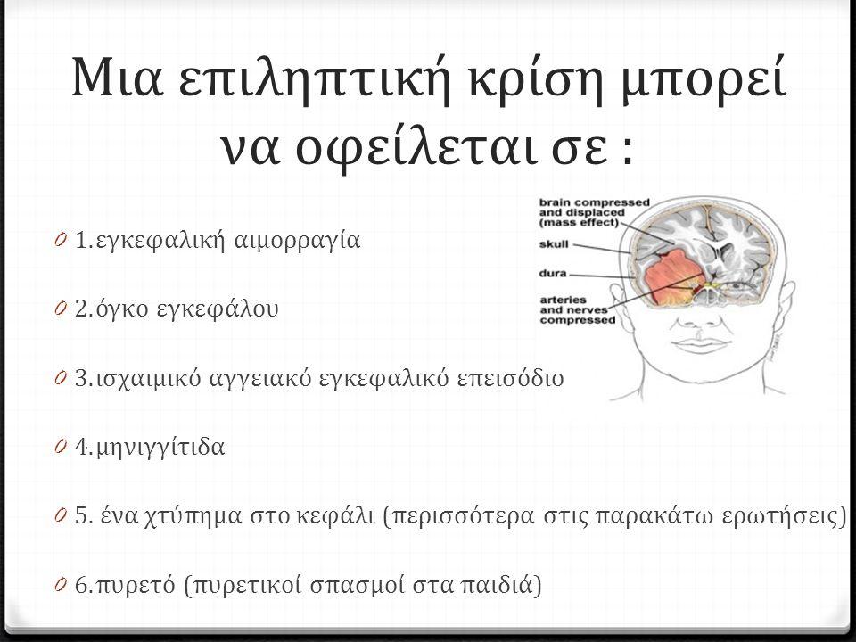 Μια επιληπτική κρίση μπορεί να οφείλεται σε : 0 1.εγκεφαλική αιμορραγία 0 2.όγκο εγκεφάλου 0 3.ισχαιμικό αγγειακό εγκεφαλικό επεισόδιο 0 4.μηνιγγίτιδα 0 5.