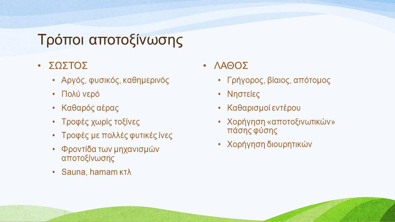 Τρόποι αποτοξίνωσης ΣΩΣΤΟΣ Αργός, φυσικός, καθημερινός Πολύ νερό Καθαρός αέρας Τροφές χωρίς τοξίνες Τροφές με πολλές φυτικές ίνες Φροντίδα των μηχανισ