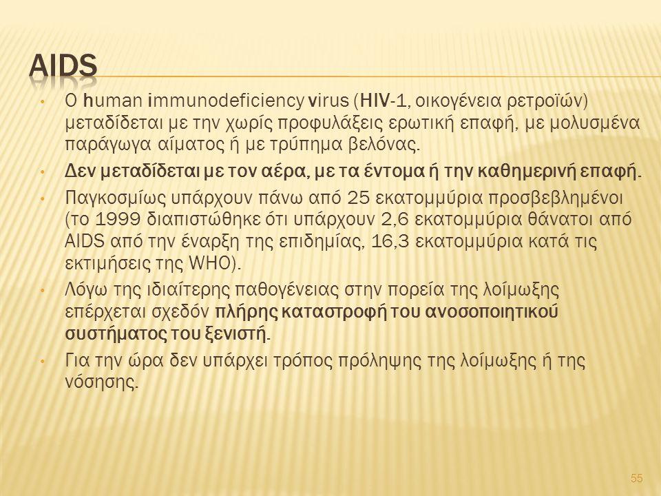 O human immunodeficiency virus (HIV-1, οικογένεια ρετροϊών) μεταδίδεται με την χωρίς προφυλάξεις ερωτική επαφή, με μολυσμένα παράγωγα αίματος ή με τρύπημα βελόνας.