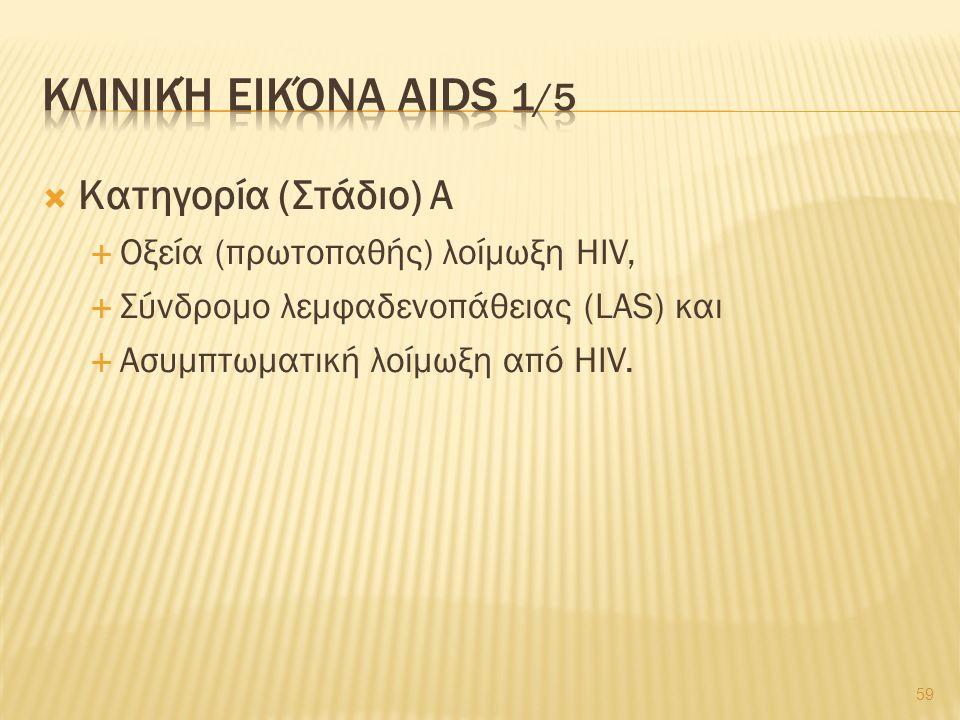  Κατηγορία (Στάδιο) Α  Οξεία (πρωτοπαθής) λοίμωξη HIV,  Σύνδρομο λεμφαδενοπάθειας (LAS) και  Ασυμπτωματική λοίμωξη από HIV.