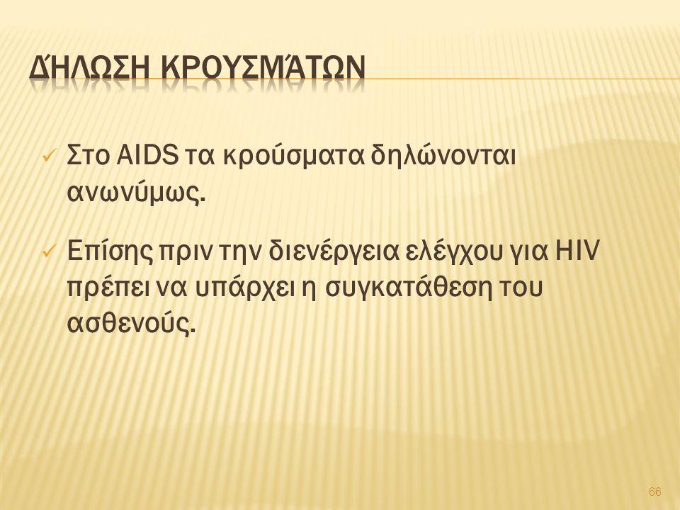 Στο AIDS τα κρούσματα δηλώνονται ανωνύμως.
