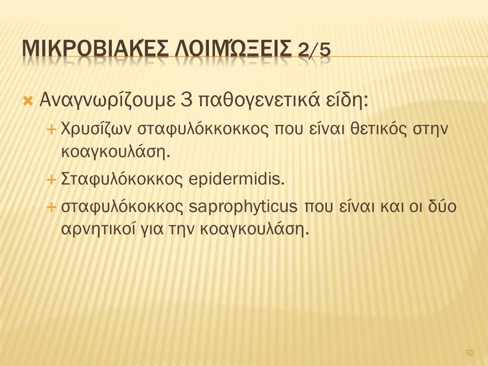  Αναγνωρίζουμε 3 παθογενετικά είδη:  Χρυσίζων σταφυλόκκοκκος που είναι θετικός στην κοαγκουλάση.